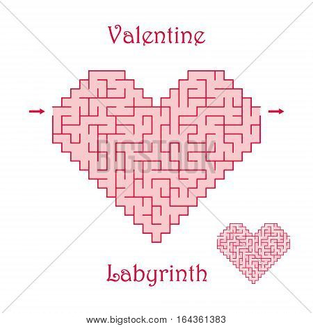 Vector Valentine Labyrinth. Maze / Labyrinth with entry and exit.