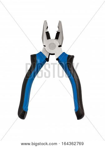 Isolated blue pliers with clipping path on the white background