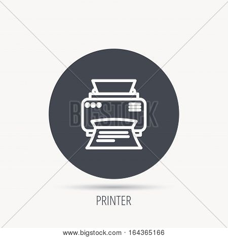 Printer icon. Print document technology sign. Office device symbol. Round web button with flat icon. Vector