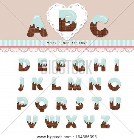 Blue cream melted on chocolate decorative alphabet. Cute ABC letters can be used for bitrhday card Valentines day sweets shop girls magazine. Isolated on white.