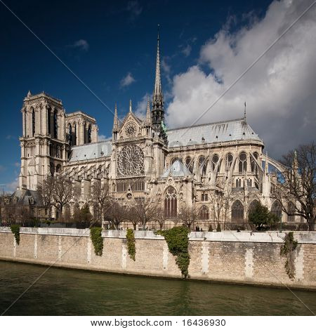 The Notre dame de Paris church side view