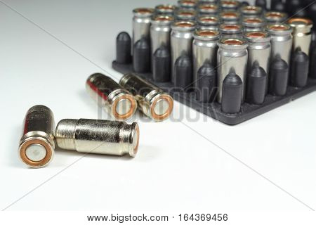 Explosive weapon bullets. Deadly and dangerous bullets.