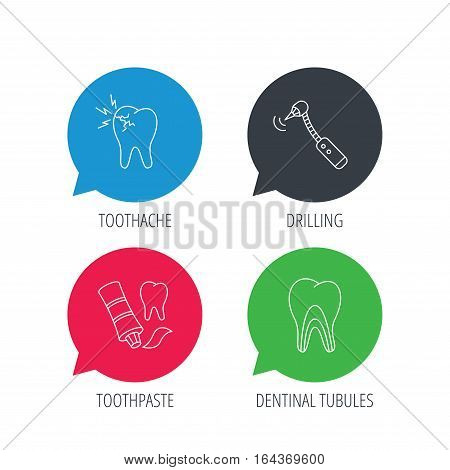 Colored speech bubbles. Toothpaste, dental tubules and toothache icons. Drilling tool linear sign. Flat web buttons with linear icons. Vector