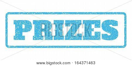 Light Blue rubber seal stamp with Prizes text. Vector message inside rounded rectangular frame. Grunge design and dust texture for watermark labels. Horisontal emblem on a white background.