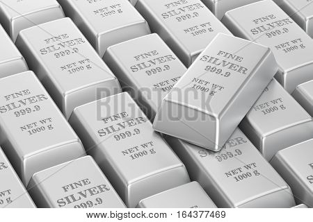 silver bars background or backdrop 3D rendering