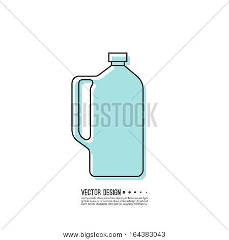 Canister under the petrol, gasoline and engine oil. Modern thin line icon. outline symbol. Vector. Can for water, milk, detergent, shampoo and other liquids. linear style
