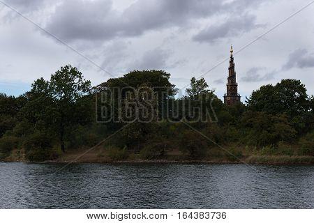 Impressive tower of the Church of Our Saviour, Copenhagen, Denmark