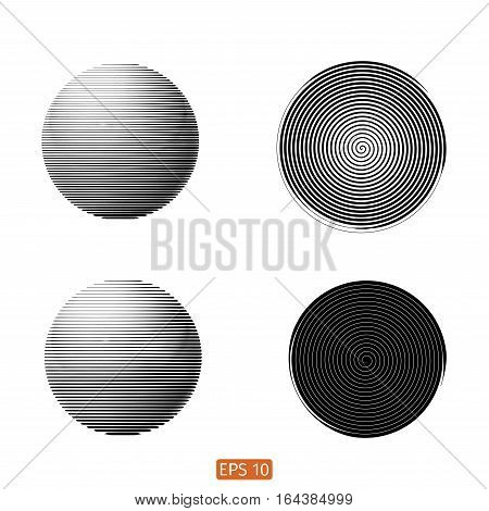 Set Of Abstract Spiral Element. Swirling, Twirling Shape. Vector. No Gradient. Sphere, Line, Black A