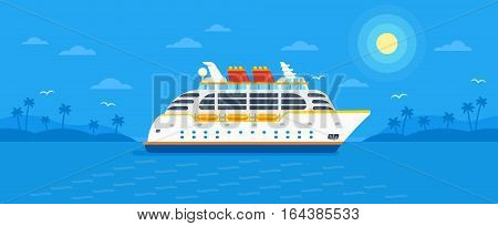 Cruise ship in trendy flat design style vector illustration. Seaway ocean transport passenger ship on monochrome blue tropic background with palm trees, seagulls, sun and clouds.