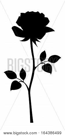 Vector black silhouette of rose with stem isolated on a white background.