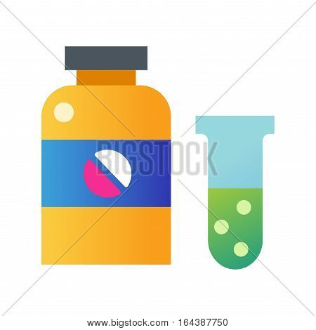 Tablets pills bottle medicine medical on white background. Drug pharmacy care and antibiotic pharmaceutical. Healthy vitamin and prescription medicament addiction.