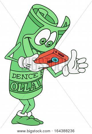 Illustration of Rolled Dollar Bill Banknote Cartoon Character