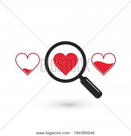 Search suitable heart love icon vector isolated symbol.