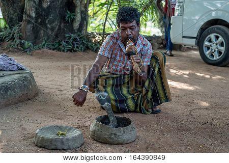 POLONNARUWA, SRI LANKA - CIRCA DECEMBER 2016: Snake enchanter or fakir plays pipe to enchant cobra. Polonnaruwa is an ancient capital of Sinhalese kingdom, UNESCO World Heritage Site.