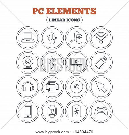 Computer elements icons. Notebook, usb port and smartphone. Printer, smart watch and game console joystick. Bluetooth, flash stick and cursor pointer. Circle flat buttons with linear icons. Vector