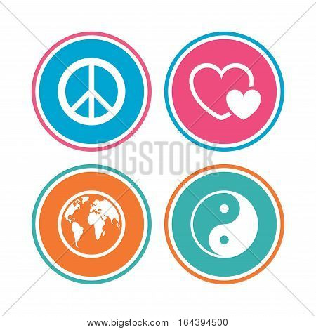 World globe icon. Ying yang sign. Hearts love sign. Peace hope. Harmony and balance symbol. Colored circle buttons. Vector