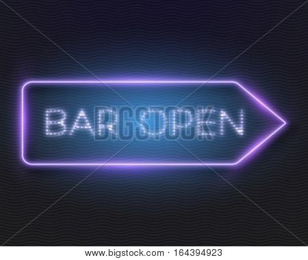 Illustration of Realistic Vector Neon Frame. Vintage Glowing Vector Neon Sign. Bar Open Neon Frame