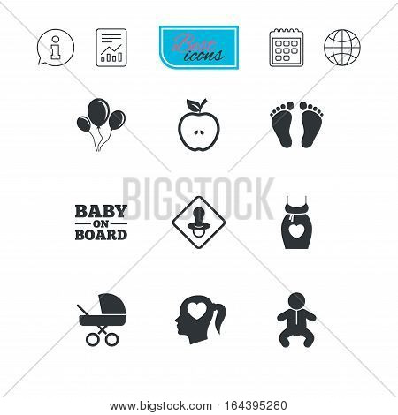 Pregnancy, maternity and baby care icons. Air balloon, baby carriage and pacifier signs. Footprint, apple and newborn symbols. Report document, calendar and information web icons. Vector