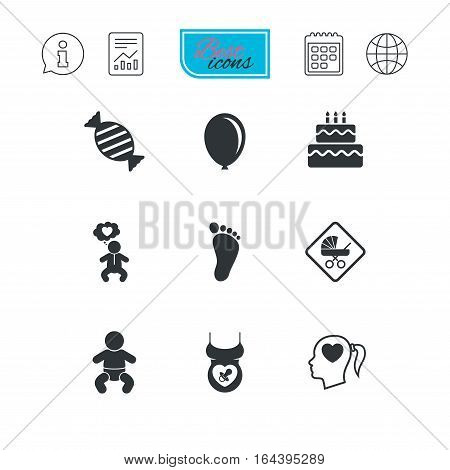 Pregnancy, maternity and baby care icons. Candy, strollers and pacifier signs. Footprint, birthday cake and heart symbols. Report document, calendar and information web icons. Vector