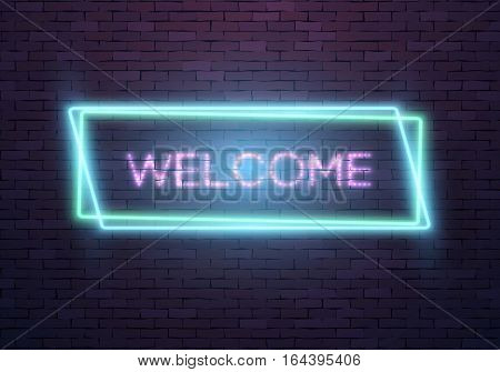 Illustration of Realistic Vector Neon Sign. Welcome Neon Frame. Retro Glowing Neon Welcome Sign