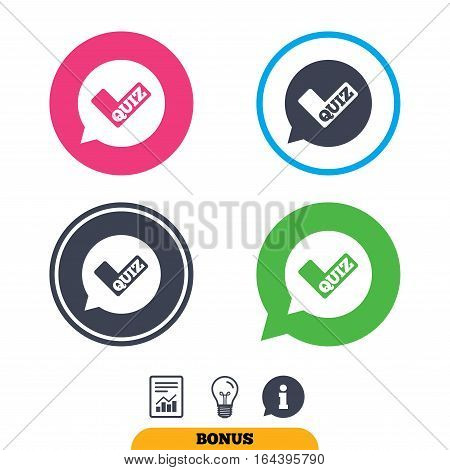 Quiz check in speech bubble sign icon. Questions and answers game symbol. Report document, information sign and light bulb icons. Vector
