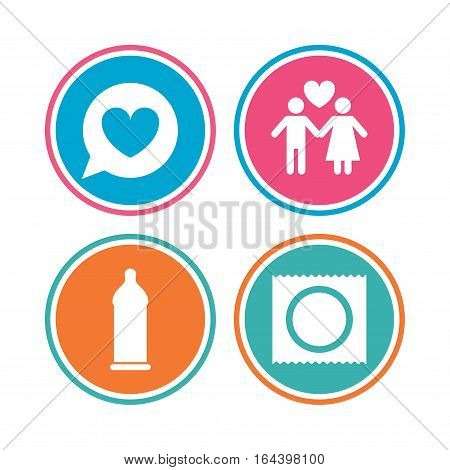 Condom safe sex icons. Lovers couple signs. Male love female. Speech bubble with heart. Colored circle buttons. Vector