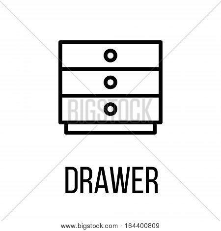 Drawer icon or logo in modern line style. High quality black outline pictogram for web site design and mobile apps. Vector illustration on a white background.