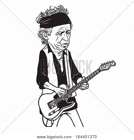 Keith Richards of The Rolling Stones Black and White Cartoon Caricature Portrait Illustration. January 9, 2017