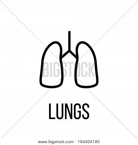 Lungs icon or logo in modern line style. High quality black outline pictogram for web site design and mobile apps. Vector illustration on a white background.