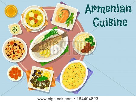 Armenian cuisine dinner dishes icon of baked fish with rice, lamb meatball soup, grape leaf roll, rice pilaf with dried fruit, meatball with mashed potato, trout steak with nut sauce, potato in milk