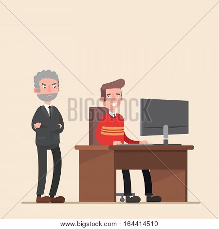 The boss is on the employee. Tired business man. Sleek modern style vector illustration.