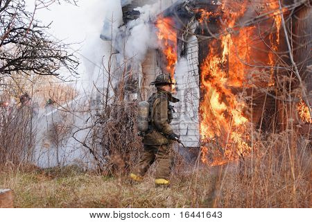Detroit City Firefighters fighting a  house fire