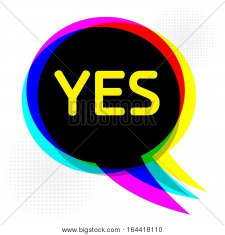 Speech Bubble in Pop-Art Style business concept with text Yes vector illustration