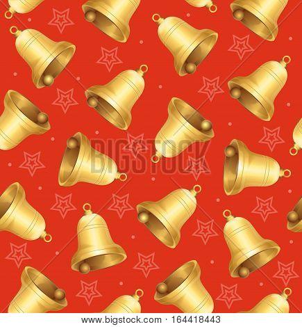 Golden Jingle Bells Background Pattern on Red. Symbol Of The Winter Holidays Vector illustration