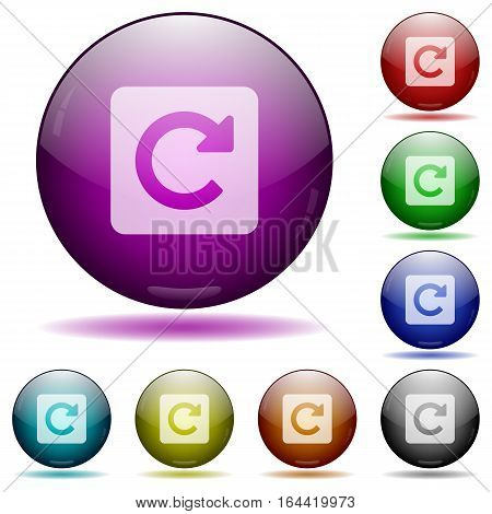 Rotate right icons in color glass sphere buttons with shadows