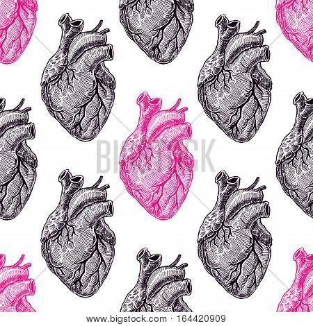 beautiful seamless pattern of realistic pink and black hearts on a white background. hand-drawn illustration