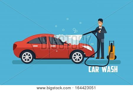 poster of Car wash banner. Man washing car vector illustration. Car wash concept with sport red car.
