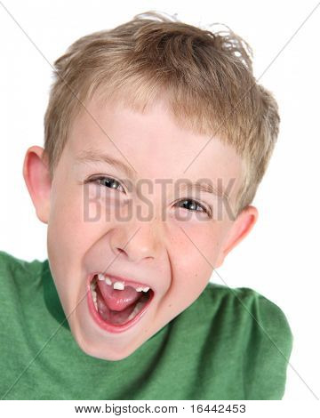 Young boy making a silly face
