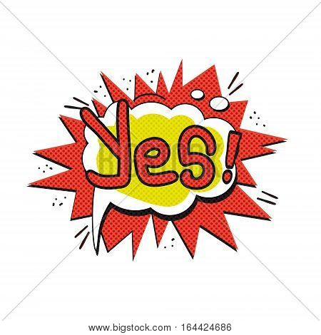Pop art logo. Pop art Yes logo. Retro style poster. Vector pop art illustration. Comic style logo. Pop art comics icon