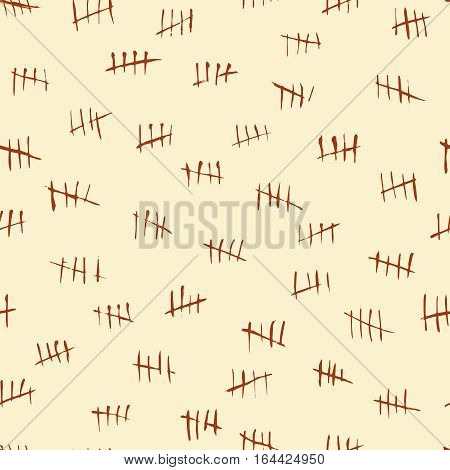 Tally scratch counting marks, waiting numbers vector seamless pattern. Tally scratch in jail, crossed out strokes on wall illustration