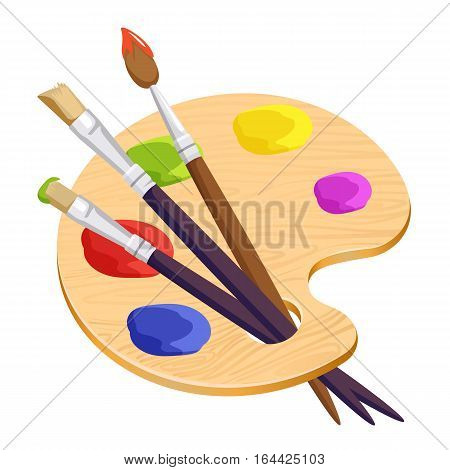 Isolated artist palette with three long different brushes inside on white. Vector illustration of cartoon wooden thing with colourful round spots of paints. Set for creating pictures and portraits
