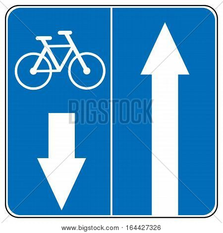 One way road traffic to left or right sign, bicycles road. Drive Straight Arrow Traffic Vector illustrations. Set of arrow road signs