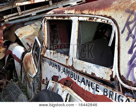vintage ambulance wreck