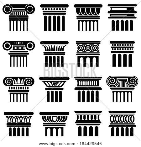 Ancient rome architecture column vector icons. Black silhouette column, old classical greek column illustration