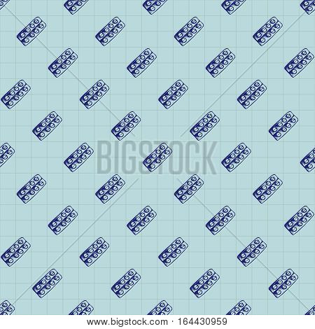 Healthcare and medicine. Vector doodle seamless pattern with pills. Medical hand drawn icons on checkered background.