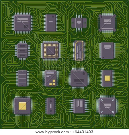 High tech circuit board industrial background. Hardware component equipment. Integrated connection communication. Electronic processor technology vector illustration.