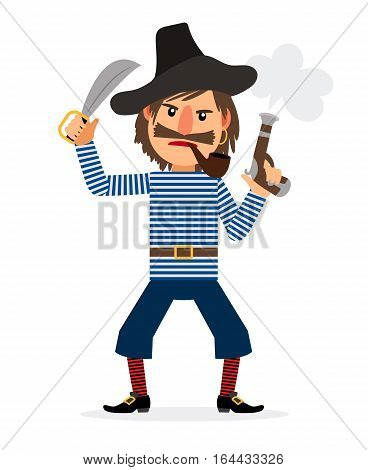 Pirate cartoon character, smoking pipe and holding sword and pistol. Vector icon on white background