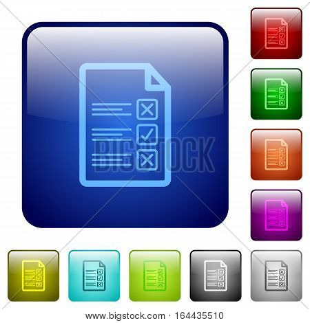 Questionnaire document icons in rounded square color glossy button set