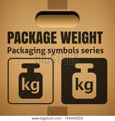 PACKAGE WEIGHT packaging symbol on a corrugated cardboard box. For use on cardboard boxes packages and parcels. Vector illustration