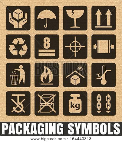 Packaging signs on a cardboard background including Fragile, Handle with care, Keep dry, This side up, Flammable, Recycled, Package weight, Do not litter, Max stack, Clamp and Sling here, and others